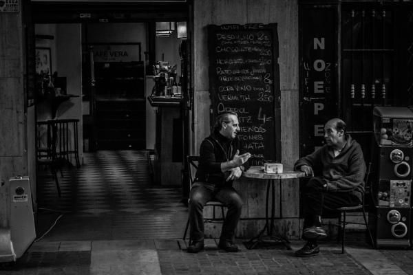 Two men at cafe
