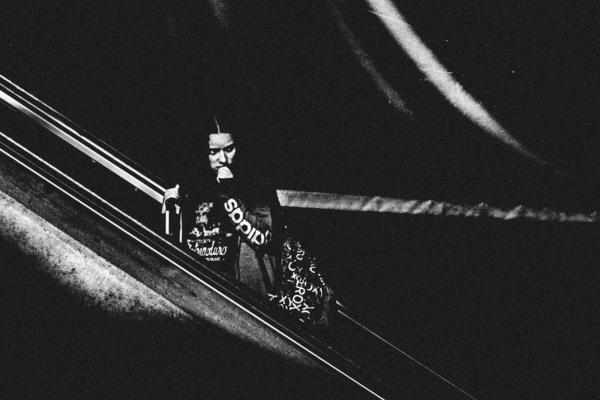 Girl on escalator