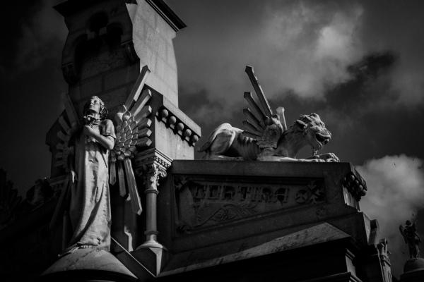 Statue and gargoyle
