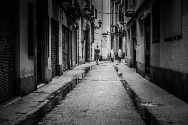 Narrow street, two nuns