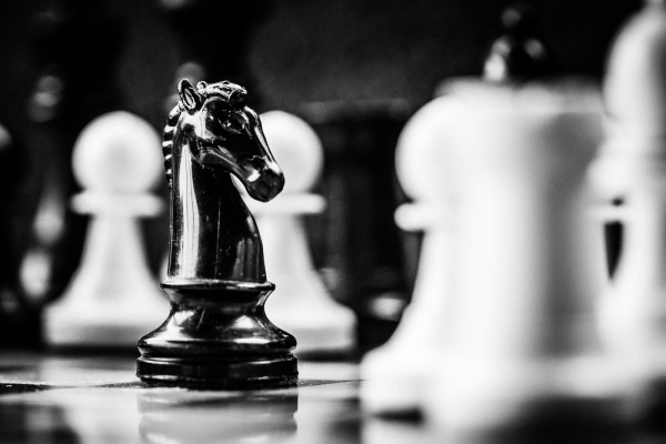 Chess with black horse