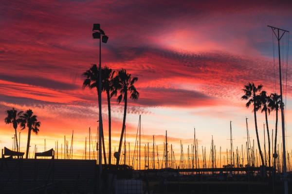 sunrise at the Port of Valencia