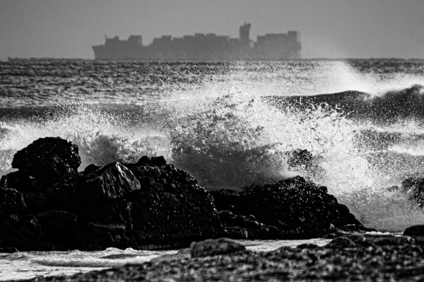 waves crashing at beach